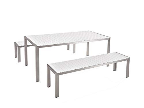 Beliani Gartenmöbel Set Kunstholz weiß 2 Bänke Nardo