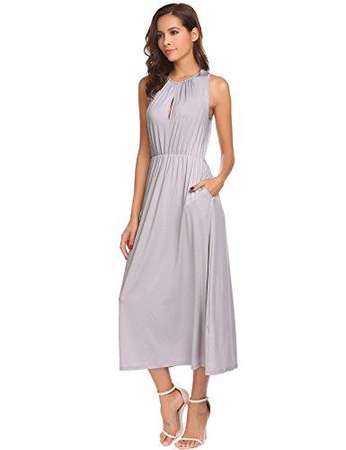 Meaneor Damen Elegant Ausschnitt Kleider Ärmellos Midikleid Wadenlang Sommerkleid Cocktailkleid...