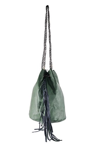BORDERLINE - 100% Made in Italy - Borsa Secchiello in Vera Pelle - GIULIA Verde