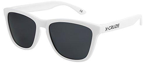 X-CRUZE® 9-016 X0 Nerd Sonnenbrillen polarisiert Style Stil Retro Vintage Retro Unisex Herren Damen Männer Frauen Brille Nerdbrille - weiß matt LS/schwarz