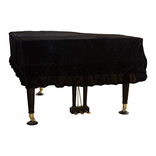 Marching orchid Flügel Cover Bordered Staubschutztuch, European Classical Gold Velvet Piano Cover (Color : Black, Size : 190cm)