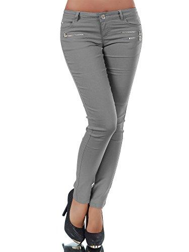L958 Damen Hose Treggings Leggings Stoffhose Freitzeithose Röhrenhose Leggins , Farben:Grau;Größen:42 (XL)