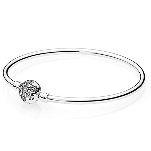 25 Sterling Silber kristall Schneeflocke klatschen schlangenkette Pandora Armband armreif fit Frauen perlen Charme DIY schmuck ()