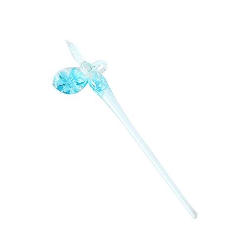 MagiDeal Kristall Glas Dip Pen, Blumen Muster Unterschriftsstifte aus Glas, Elegante Dip Sign Pen -...