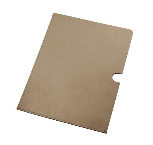 Lucrin - Pochette pelle per documenti A5 - Vacchetta liscia - Pelle - Grigio marrone scuro