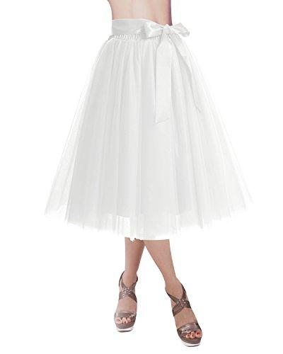 Dresstells Damen Tüllrock Knielang Gefaltet Midi Tutu Rock Unterrock mit Gürtel Ivory L