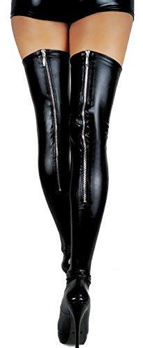 Halterlose Overknee Strümpfe mit Zipper Wetlook Optik Kniestrümpfe (L, Schwarz)
