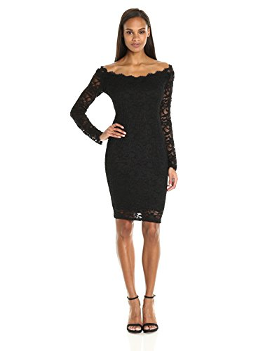 Marina Damen Off The Shoulder Lace Dress with Scalloped Neckline Cocktailkleid, schwarz, 40 Scalloped Lace Dress