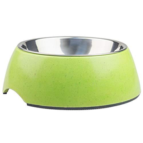 WQING Hundenapf, Nicht verschüttet, erhöhte Futterschale, hoher Ständer für Hunde, Rutschfester Feeder für den Nacken, druckfrei,Green,S -