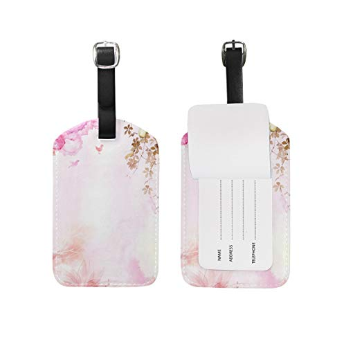 Luggage Tag Watercolor Pink Spring Butterfly and Magpie Bird Travel Tag Name Card Holder for Baggage Suitcase Bag 1 Piece
