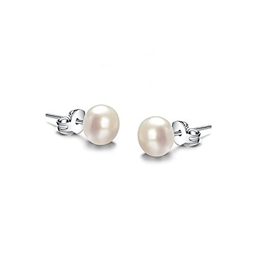Wolle Doppel-tuch (LANMPU Pearls Classic Collection Damen- weiß 925 Sterling Silber - Perle erhältlich in den Größen 6 mm 8 mm 10 mm)