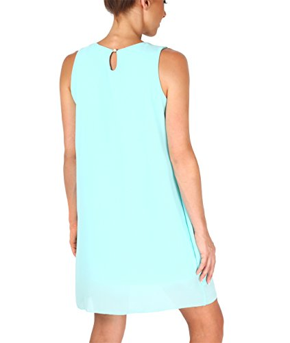 KRISP® Damen Verziertes Tunika Chiffon Kleid Minzgrün (5025)