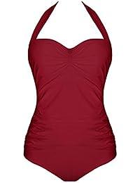 ShiFan Vintage Maillot De Bain Grande Taille 1 Pièce Rembourré Pin Up Pour Femme Rouge 48