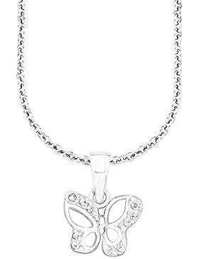 Amor Kinder-Kette mit Anhänger Schmetterling Bärenherz Charity Collection 925 Silber rhodiniert Zirkonia weiß...