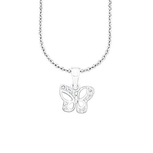 amor Mädchen-Halskette mit Schmetterlings-Anhänger aus rhodiniertem 925er Sterling Silber