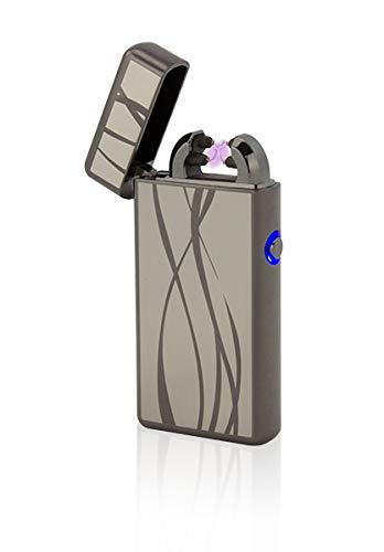 Tesla-Lighter T08 Lichtbogen Feuerzeug USB Feuerzeug Double-Arc Lighter elektronisches Feuerzeug wiederaufladbar Schwarz Linien -