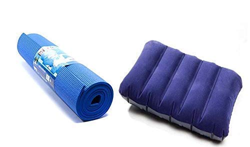MERA MART Gym Exercise Anti Skid PVC Yoga Mat with Air Pillow, Multicolour
