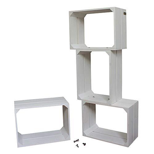 Liza line libreria componibile libreria componibile con 4 cassette in legno di pino – mensole stile vintage. mobile contenitore a 4 vani. pino massiccio – ogni cassa misura 40x30x20 cm (bianco)