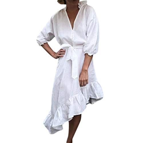 YUAN Damenkleider, Damenmode-Knopf-Verband-Feste Laternehülse tiefer Ansatz unregelmäßiges ()