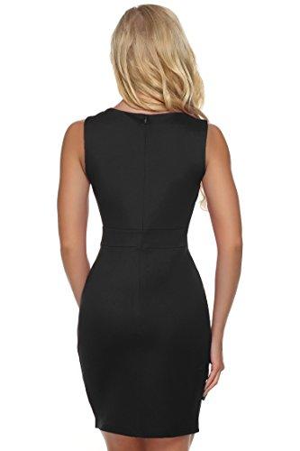 ZEARO Mode Robe Courte Sexy De Coctail Col Creux Sans Manche Mini Robe Habillée Moulante Dress De Soirée Femme D'été Noir
