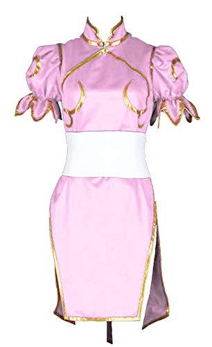 CHIUS Cosplay Costume Pink Fighting Outfit Dress for Chun Li Version 3 (Street Fighter Girl Kostüm)
