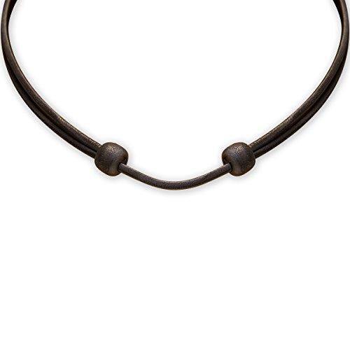 HANA LIMA ® Lederkette Lederband schwarz verstellbar Halskette Leder Surferkette