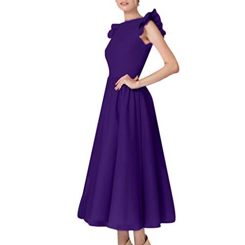 Mitte Der Wade Kleid (KPILP Women Abendkleider Butterfly Sleeveless Cocktailkleide Oansatz Abschlussball Abendkleid Mitte der Wade Rockabilly Kleid Elegant Formelle Kleidung(Violett,EU-40/CN-M))