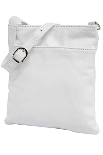 AMBRA Moda Italienische Ledertasche Schultertasche Crossover Umhängetasche Nappaleder Damen Kleine Tasche NL611 (Weiß)
