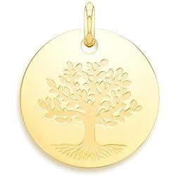 ARBRE DE VIE - Médaille LAîque - Or Jaune 9 carats - Diamètre: 18 mm - www.diamants-perles.com