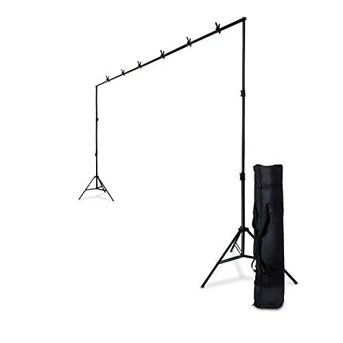 Professionelles HAUSER & PICARD  Foto-Hintergrund-System 3,00 m (Breite) x 2,40 m (Höhe) mit Teleskop-Feder-Stativen / besonders schneller Aufbau durch Stecken und Drehen / inklusive Foto-Klemmen und Transport-Tasche für Portrait-Fotografie, Produkt-Fotografie und Videoaufnahme