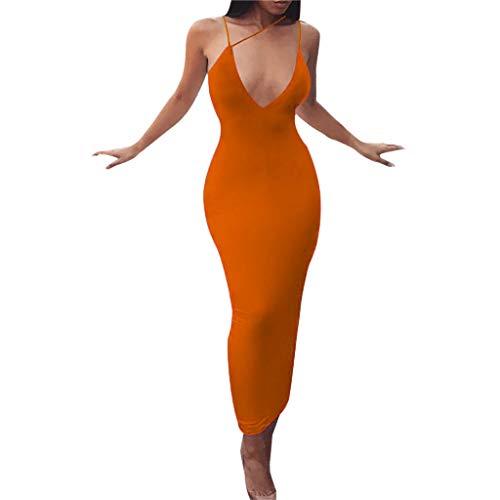 Damen kleid,Jessboy Frauen beiläufiges Langer Abschnitt Sommer Strand Kleid Art- und Weisefrauen V-Ansatz Sleeveless festerKleid Damen sexy Hosenträger Spitze Nähen langen Rock