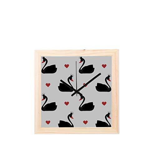 Wietops Schwarz Weiß Schwanenfeder Nicht tickt Platz Stille Holz Diamant Große Display Digital Batterie Wanduhren Malerei Zifferblatt Für Küche Kind Schlafzimmer Home Office Decor -