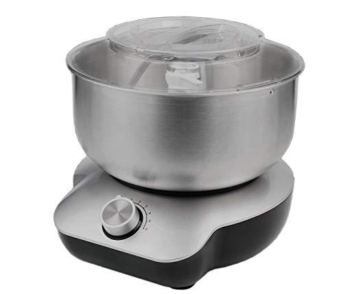 DMS® 5 Liter Küchenmaschine 1400W Knetmaschine Rührmaschine EdelstahlSchüssel mit Pulse-Funktion und Spritzschutz Silber KMS-1400S