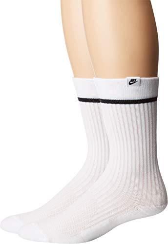Nike U SNKR SOX Essential CRW 2PR Socks, White/Black, L (Fußball-sox)