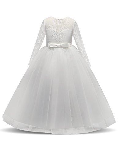 NNJXD Mädchen Spitze Tüll Bodenlangen Brautjungfer Tanz Ballkleid Kleid Größe(130) 7-8 Jahre...