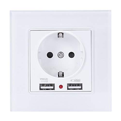 Moligh doll Glasplatten Wand Strom Steckdose geerdet 16A Eu Standard Elektrische Steckdose mit 2100Ma Doppelt Usb Ladeger?t Anschluss für Mobile -