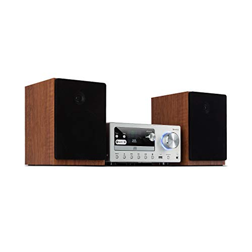 auna Connect - Kompaktanlage, HiFi System, Stereoanlage, Musikanlage, Internet, DAB+, FM Radio, 80 W max. CD-Player, USB-Port, Bluetooth, Spotify Connect, Infrarot-Fernbedienung, Silber