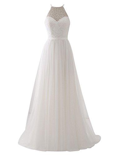 Erosebridal Ärmellos Spitze Chiffon Hochzeitskleid Brautkleid Elfenbein DE38