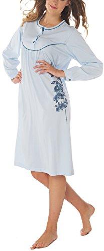 Chemise de nuit Femme 100% Coton Manches longues Bleu