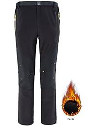 Pantalones Térmicos Termales de Invierno Pantalones Térmicos Repelentes de Agua Esquí Senderismo Trekking Pantalones Pantalones Pantalón de Entrenamiento con Bolsillos Salón Traje de Trabajo Transpirable Negro 2XL