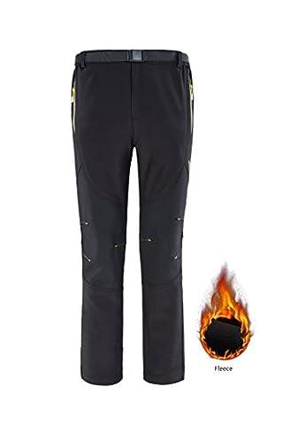 Womens Winter Thermomètre Calme chaud Pantalon hydrofuge à l'eau Polaire Ski Trekking Trekking Pantalons Pantalons Chandails Bottom with Pockets Lounge Work Wear Respirant Noir