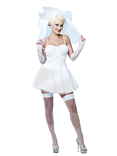 Like A Virgin Bride Costume. White dress with corset style top. X-Large only