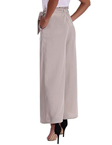 Abollria Damen Weite Hose Chiffon Paperbag Hose Casual Festliche Hosen Weite Bein Hohe Taille mit breiter Gummibund und Gürtel Grau
