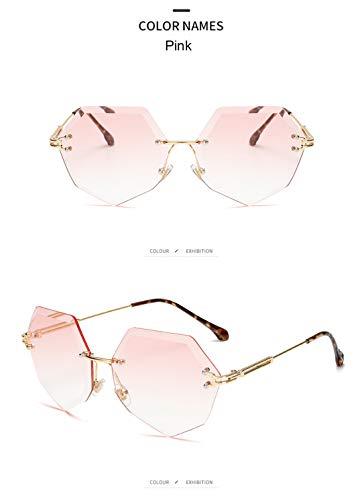 DAIYSNAFDN Unregelmäßige Sonnenbrille Mode Brille Schnitt Rand Sonnenbrille für männer und Frauen rahmenlose Metall Sonnenbrille Pink