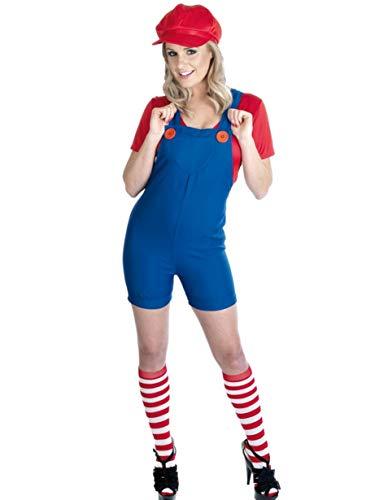 Fancy Me Damen Mario Luigi oder Wario Klempner Cartoon 1980s Halloween Kostüm Kleid Outfit UK 8-30 Übergröße - Rot, 24-26 (Erwachsene Wario Kostüm)