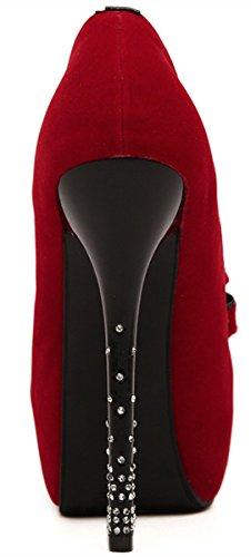 Ye Femme ronde Gousse d'fermé Talons hauts plateau stiletto cristal arc Daim Cuir Nubuck Party élégant Pumps Chaussures Rouge - Rouge