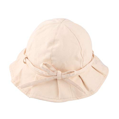 TWIFER Baby Hat Toddler Baby Kids Girls Boys Candy Solid Ribbons Breathable Hat Bucket Cap 100% Cotton Cap Soft Double Layered Hats Aged 1-3(Beige)