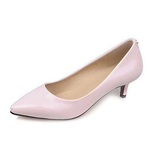 AllhqFashion Femme Tire Verni à Talon Correct Couleur Unie Chaussures Légeres Rose