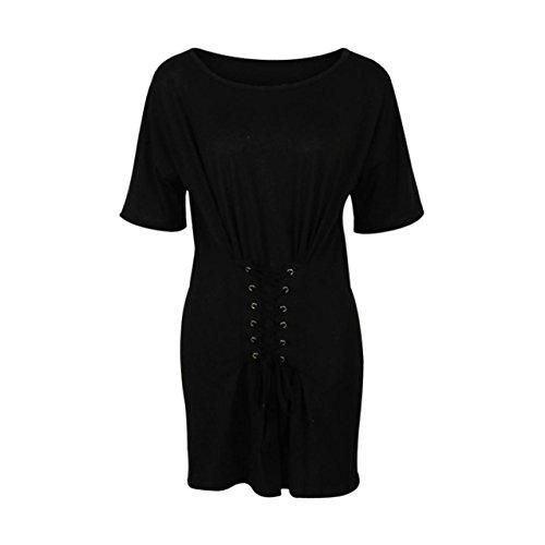 Sunnywill O Nacken Kurzarm Halter Urlaub Mini Damen Sommer Strand Kleid  Black