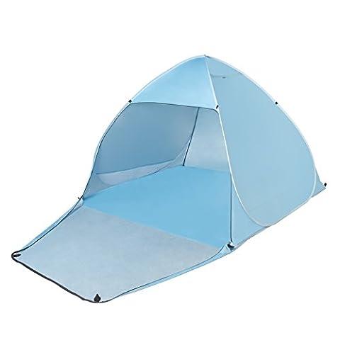 Tecare Pop Up Tent Anti-UV 50+ pour 3-4 personnes / Camping / Backpacking / Randonnée / Léger / Facile à installer Outdoor Beach Tent Shelter (blue, 3-4)